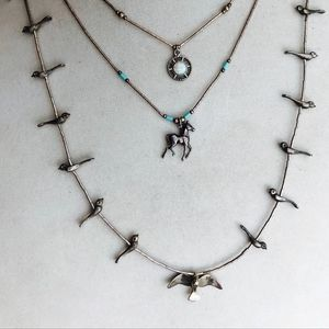 VTG Navajo Sterling Silver Bird Fetish Necklace
